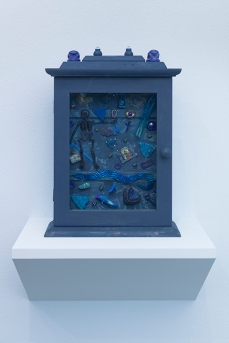 Blue Reliquary. Betye Saar.Something Blue at Roberts Projects. Photo courtesy of the artist and Roberts Projects