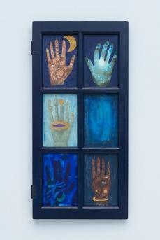 Blue Window of the Mystic Palms. Betye Saar.Something Blue at Roberts Projects. Photo courtesy of the artist and Roberts Projects