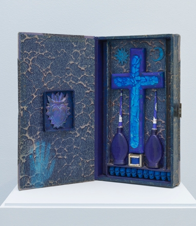 La Cruz Indigo. Betye Saar.Something Blue at Roberts Projects. Photo courtesy of the artist and Roberts Projects