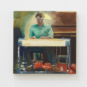 Celeste Dupuy-Spencer, Hinman, oil on linen, 21 x 21 inches, 2018 at Nino Mier Gallery. Photo courtesy of the gallery.