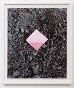 Untitled (Pink Diamond) Archival pigment print Paper in Sadie Barnette: Black Sky at Charlie James Gallery. Photo courtesy of the gallery.