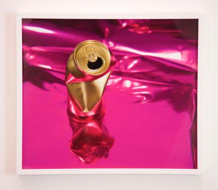 Untitled (Gold Can on Pink) Archival pigment print Paper in Sadie Barnette: Black Sky at Charlie James Gallery. Photo courtesy of the gallery.
