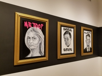 Cabinet of Horrors by Robbie Conal At Track 16 Gallery. Photo credit: Kristine Schomaker.