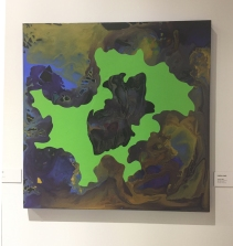 Linda King in Polychromatic Mojo / Color as Content at Cerritos College Art Gallery. Photo credit: Lorraine Heitzman.