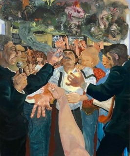Celeste Dupuy-Spencer, Through the Laying of the Hands (Positively Demonic Dynamism), oil on linen, 48 x 40 inches, 2018 at Nino Mier Gallery. Photo credit: Shana Nys Dambrot.