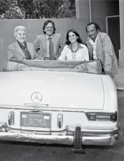 Betty Asher, Maurice Tuchman, Stephanie Barron and Cecil Fergerson at Los Angeles County Museum of Art, December 1977. Photo © Museum Associates/LACMA.