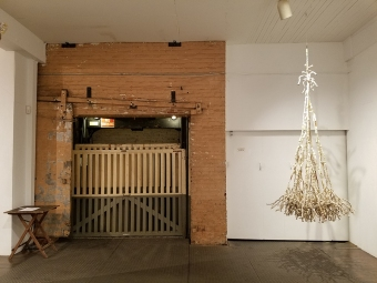 Clare Graham in Walking Upstream in The Loft Gallery at South Bay Contemporary. Photo credit: Kristine Schomaker.