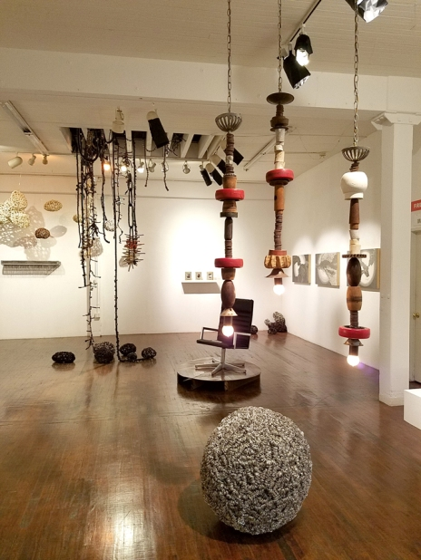 Installation view of Walking Upstream in The Loft Gallery at South Bay Contemporary. Photo credit: Kristine Schomaker.