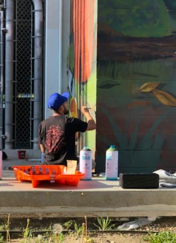 Brushwork, Branded Arts-Maya Angelou Mural Festival ©2019 A_C, Photo credit Julie Faith