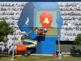 JR + Rabi, Branded Arts-Maya Angelou Mural Festival ©2019 A_C, Photo credit Julie Faith