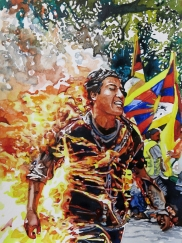 Conrad Ruiz, Man on Fire 5, Black Red and Deadly, Ochi Projects; Photo courtesy of the gallery