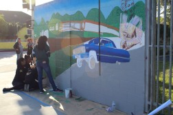 Student Art + Ni Santas, Branded Arts-Maya Angelou Mural Festival ©2019 A_C, Photo credit Julie Faith