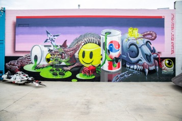 The Weird Crew members Nychos and the Low Bros collaborated on an interior wall at Studio MOMÉ; Image courtesy of Catapult World