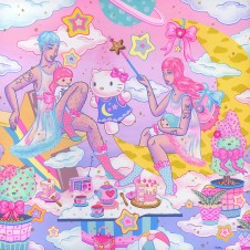 Kristen Liu-Wong, Kiki and Lala's Slumber Party, Hello Kitty Show, Corey Helford Gallery; Photo credit Genie Davis