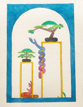 Chris Bogia, Untitled (Blue Archway with Two Bonsai and Climbing Arms), Roommates, Shulamit Nazarian; Image courtesy of the gallery