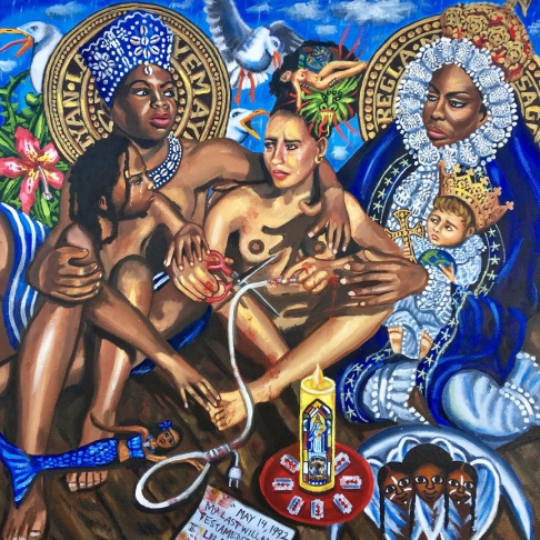 Lili Bernard, La Orisha Yemayá y La Virgen de Regla con Nina Simone and the Daughter, Zion, Whom I Didn't Know I would Birth 16 Years Later, Intercede in my 1992 Suicide Attempts, What She Said, Ace/121 Gallery and The Association of Hysteric Curators; Image courtesy of the artist