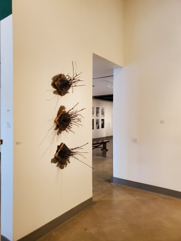 Katie Stubblefield, Target Practice (Splinters 1,2,3), St. Broxville Wood: Into the Thicket, Kellogg University Art Gallery; Photo credit Sydney Walters